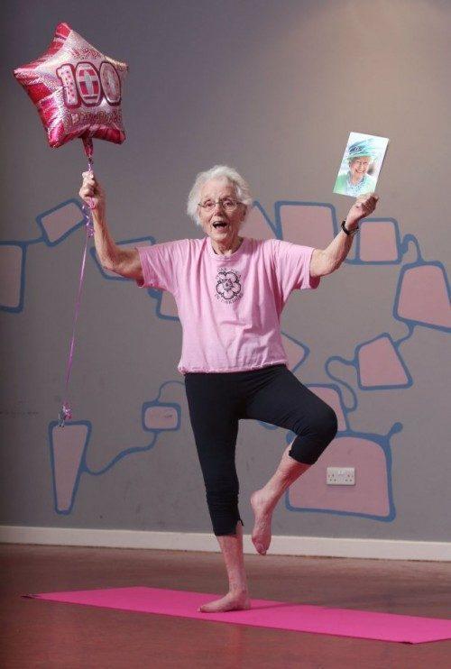 Jean Dawson who practices yoga, celebrates her 100th birthday!