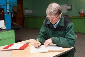Elderly man recording his story